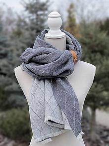 Doplnky - Pánsky exkluzívny obojstranný šál zo 100% ľanu s koženým doplnkom - 7564097_