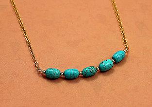 Náhrdelníky - náhrdelník s tyrkysom, pozlátený - 7560612_