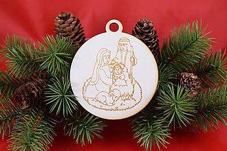 Dekorácie - Drevená vianočná ozdoba gravírovaná 60 - 7562762_