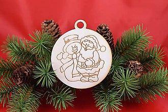 Dekorácie - Drevená vianočná ozdoba gravírovaná 61 - 7562769_
