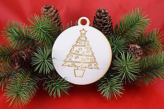 Dekorácie - Drevená vianočná ozdoba gravírovaná 63 - 7563335_