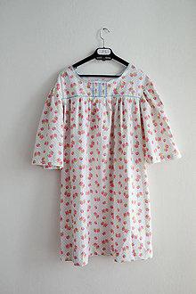 Pyžamy a župany - (via)NOČNÁ košieľka ružičky+bodky - 7561633_