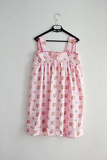 Pyžamy a župany - (via)NOČNÁ košieľka - ruže + káro - 7561685_