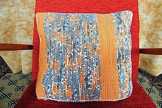 Úžitkový textil - Tkaná oranžovo-sivá obliečka na vankúš - 7563339_
