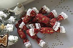 Dekorácie - Vianočné látkové salónky  v červeno-zlatej kombinácii - 7566109_