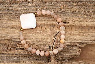Náramky - Náramok slnečný kameň a perleť - 7565291_