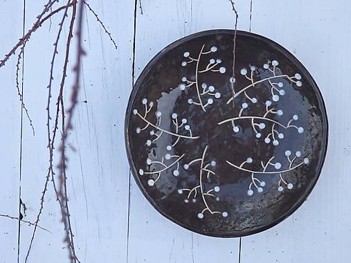 Nádoby - Keramická misa v škandinávskom štýle, čierna s vetvičkami - 7568571_