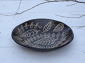 Nádoby - Keramická misa v škandinávskom štýle, čierna s listami - 7568683_