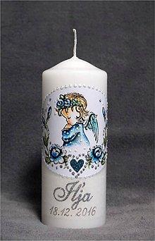 Svietidlá a sviečky - krstová sviečka s ružičkami - modrá/strieborná - 7569181_
