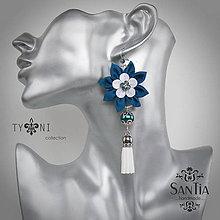 Náušnice - Náušnice: Kvety so strapcom (Tyrkysovo-biele) - 7568589_
