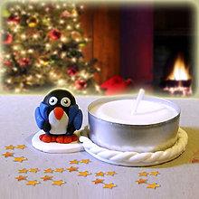 Svietidlá a sviečky - Svietnik tučniak na zákazku (v kabáte) - 7565354_