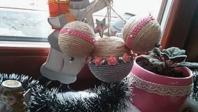 Dekorácie - vianočná ružovo šedá - 7572697_