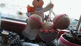 Dekorácie - vianočná ružovo šedá - 7572701_