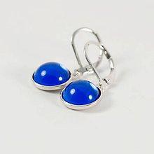 Náušnice - BLUE náušnice - Rhodium - 7571923_