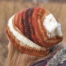 Detské čiapky - ZĽAVA zo 17 na 10 eur - Tehlovo-hnedo-biela čiapka - 7572753_