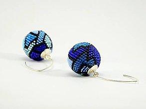 Náušnice - Háčkované korálkové náušnice Blueberry - 7573546_