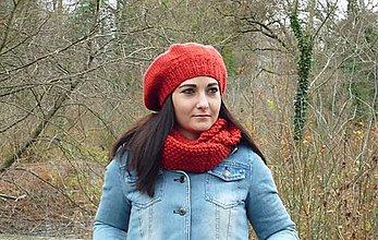Čiapky - Červená baretka - 7572715_