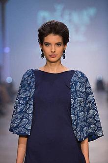 Šaty - Modrotlač listy - 7572951_