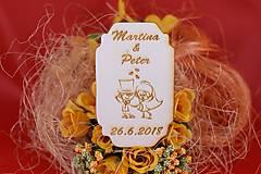 Darčeky pre svadobčanov - Drevená svadobná magnetka ako vyslužka hosťom  69 - 7570761_