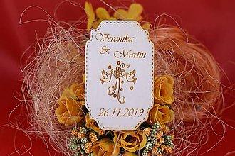 Darčeky pre svadobčanov - Drevená svadobná magnetka ako vyslužka hosťom  67 - 7570754_