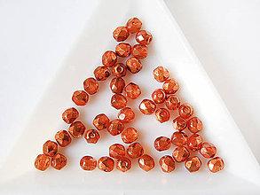 Korálky - České sklenené brúsené korálky 4mm Transparentná tehlová s pokovom, bal.20ks - 7570117_