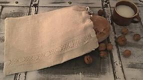 Úžitkový textil - Vrecúško z hrubého ručne tkaného ľanu  37x26cm - 7572916_