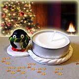 Svietidlá a sviečky - Svietnik tučniak so šálom  NA ZÁKAZKU - 7569982_