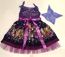 Detské oblečenie - Fialovo-strieborné vílové šatičky s krídlami - 7577225_