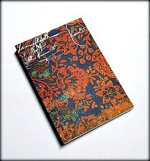 Papiernictvo - Ručne šitý zápisník/denník/diár/notes Orientálne kvety 1. - 7575326_