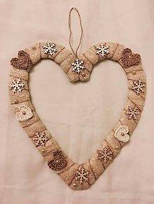 Dekorácie - Srdce- vianočná dekorácia - 7576413_