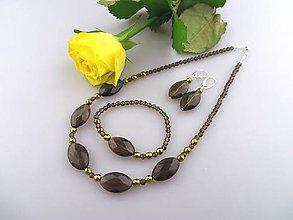 Sady šperkov - súprava zo záhnedy a zlatého hematitu - 7575259_