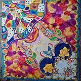Šatky - Vo víre farieb - maľovaná hodvábna šatka - 7577043_