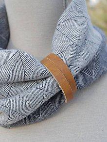 Doplnky - Štýlový pánsky ľanový nákrčník s koženým doplnkom - 7573836_