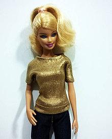 Hračky - Zlaté tričko pre Barbie - 7577378_