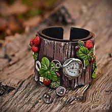 Náramky - Podkovy a lesné jahody - sada hodiniek a náušníc - 7575216_