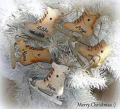 Dekorácie - Drevené korčule-Vintage ozdôbky :) - 7575782_