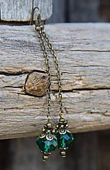 - Smaragdové dlhé - brúsené sklo- náušnice - 7576074_