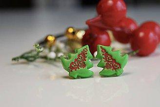 Náušnice - Folk vianočné stromčeky - 7574955_