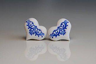 Náušnice - Folk srdiečka, bielo-modré - 7574990_