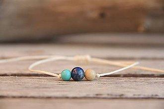 Náramky - Náramok na šnúrke lapis lazuli, tyrkenit a jaspis - 7576907_