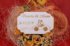 Drevená svadobná magnetka ako vyslužka hosťom  70