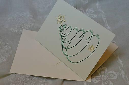 Vyšívaná pohľadnica - vianoce 3