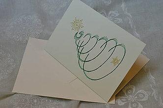 Papiernictvo - Vyšívaná pohľadnica - vianoce 3 - 7575957_