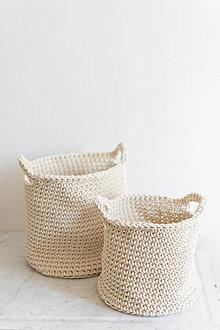 Košíky - Veľký háčkovaný bavlnený kôš - 7578314_