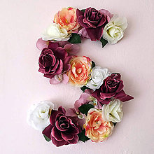Dekorácie - Kvetinové iniciály na stenu - 7578358_