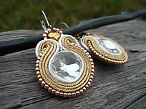 - Soutache náušnice Luxury Gold&White...letný bárter :) - 7579520_