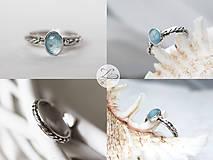 Prstene - Strieborný prsteň s akvamarínom - Nebíčko - 7580384_