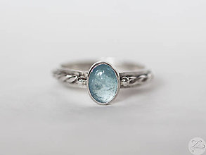 Prstene - Strieborný prsteň s akvamarínom - Nebíčko - 7580387_