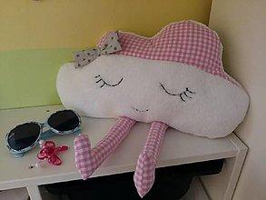 Úžitkový textil - Obláčik v ružovej kocke - vankúšik - 7579406_