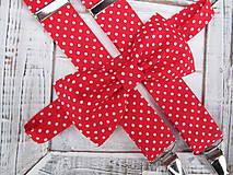- Pánsky motýlik a traky- červený s bielou bodkou set - 7580150_